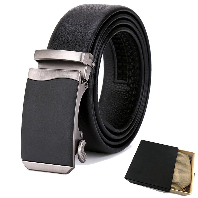 gnorall Genuine Leather Belt Men Fashion Luxury Automatic Buckle Belts 130cm Black Business Mens Strap Wild For Suit Jeans