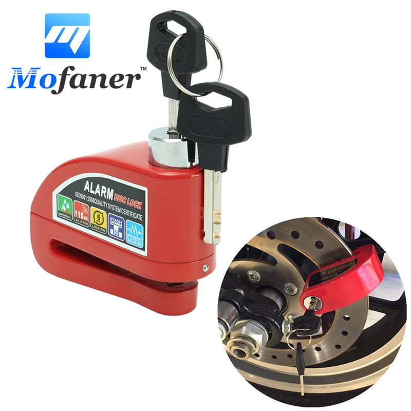 Mofaner Red Metal Motorcycle Scooter Alarm Security Anti-theft Motorbike Bike Wheel Disc Brake Lock Alarms Kit