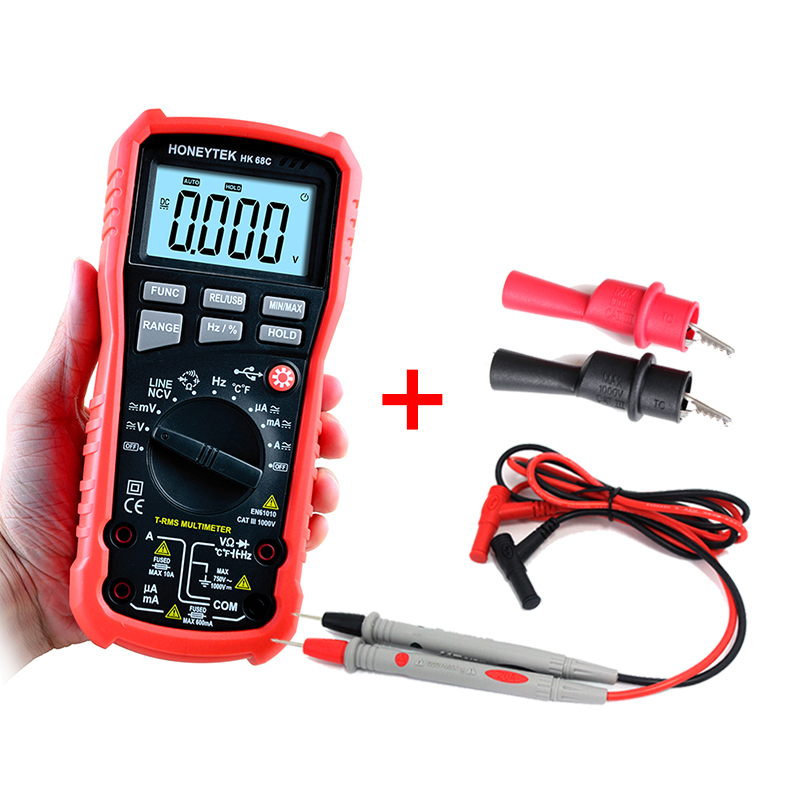 High Precision Auto Range True RMS USB Data Transfer AC / DC Frequency Temperature Measurement Handheld Digital Multimeter+Gift