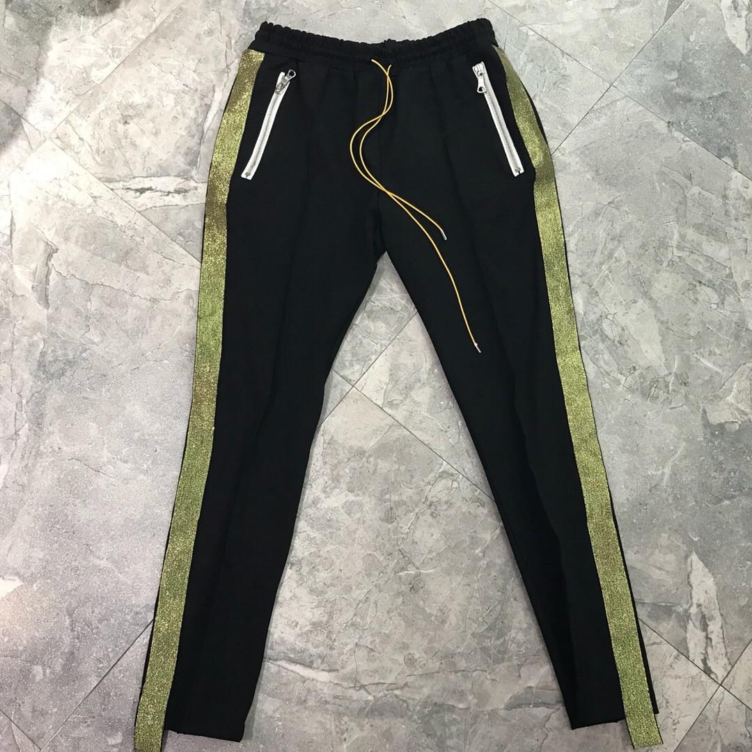 2018 Best Version Rhude Side Golden Striped Women Men Jogger Pants Hiphop Men Causal Track Pants Joggers Rhude