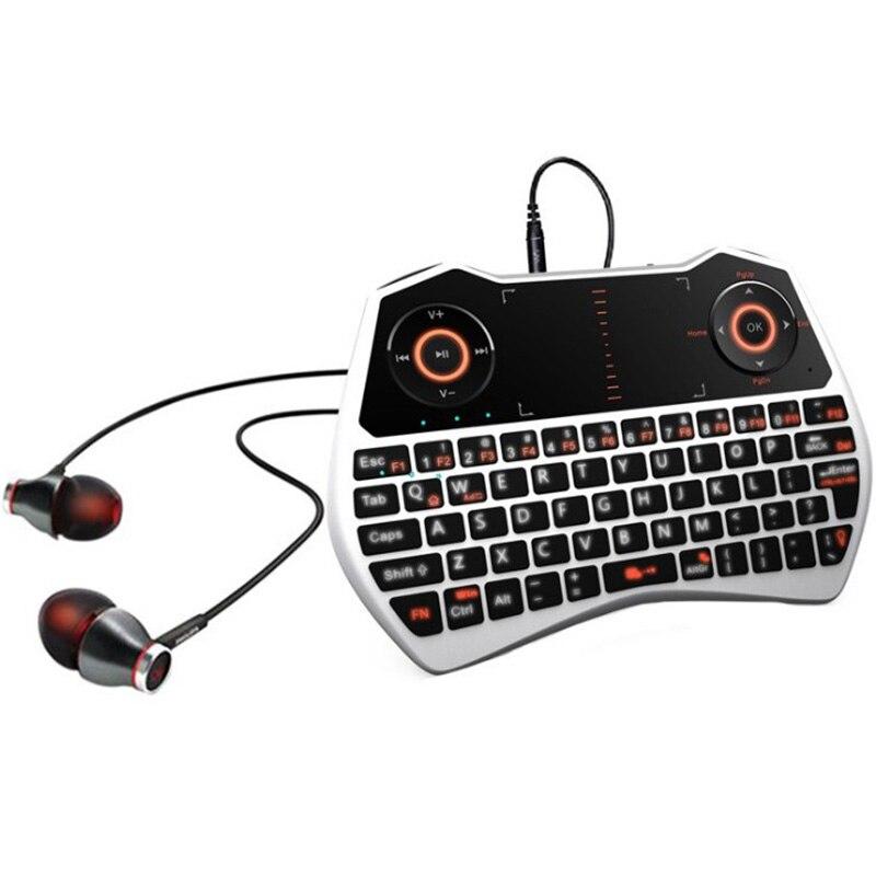 Ri MWK28 2.4G souris volante + tactile + voix + sans fil + gyroscope 6 axes complet clavier sans fil Gamepad Android TV Box