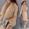 OLGITUMWomen's Jackets Fox fur collar and Fur collar cuffsb Slim long woolen coat Winter Waist design Coats Elegant Warm Women W