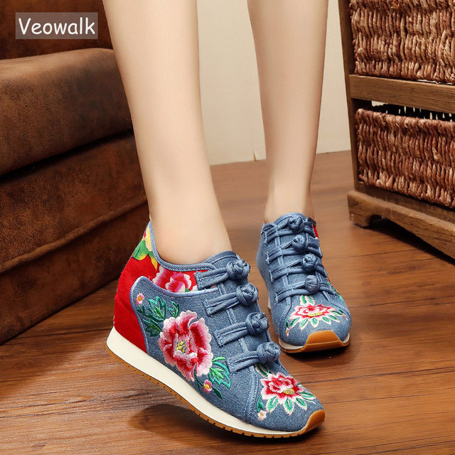 fe0290a212f5 Veowalk New Spring Women s Flower Embroidered Flat Platform Shoes Chinese  Ladies Casual Comfort Denim Fabric Sneakers Shoes