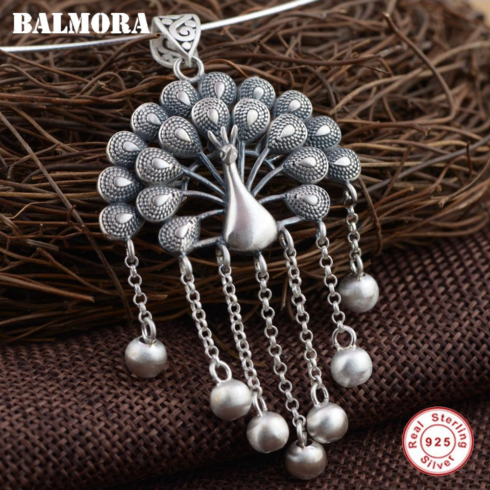 BALMORA 925 Sterling Silver Peacock Pendants For Women Mother Gift Vintage Animal Jewelry Accessories Without A Chain