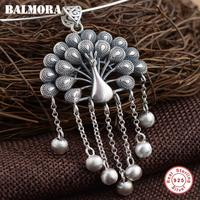 BALMORA 925 Sterling Silver Peacock Pendants for Women Mother Gift Vintage Animal Jewelry Accessories Without a Chain SY13423