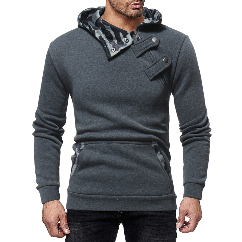 Mens Hoodies Jacket Coat Tracksuit Long-Sleeve Zipper Autumn Winter Drawstring Slim Male