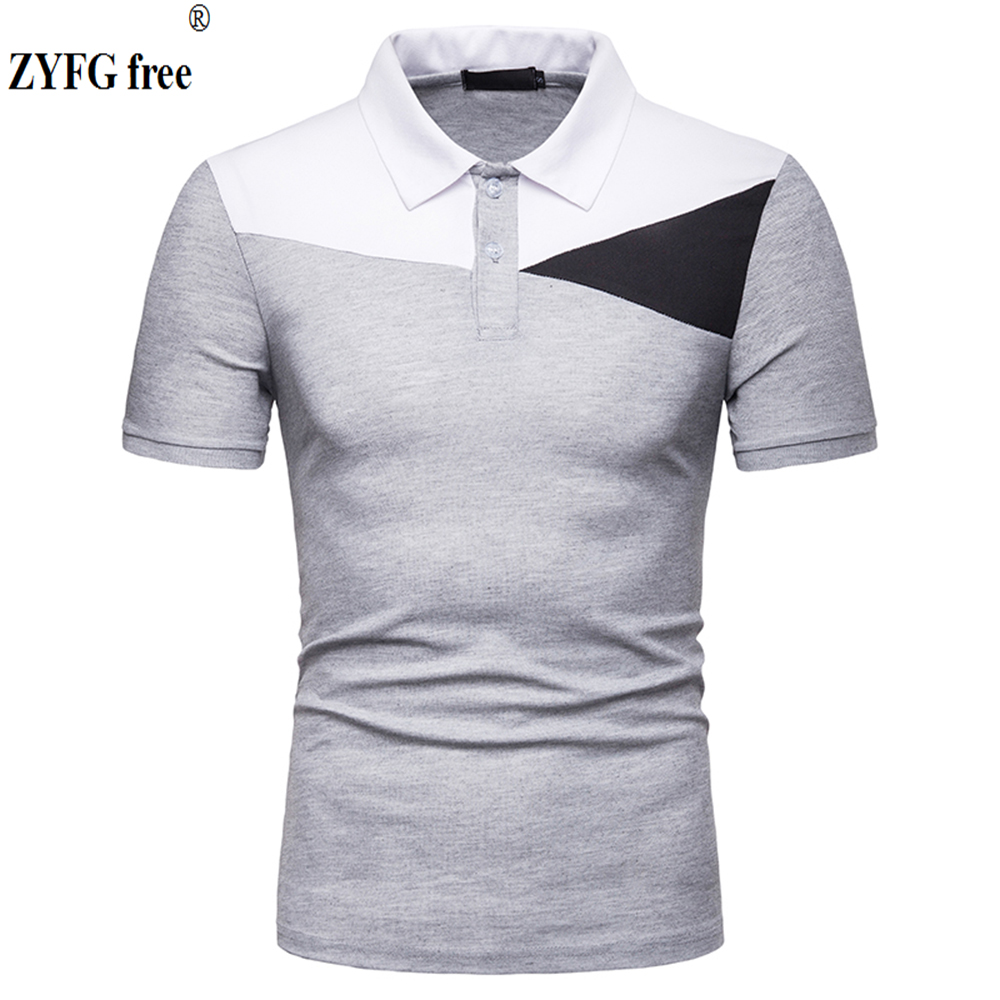 ZYFG free men Polo short-sleeved contrast color polo shirt simple casual style fashion male clothing