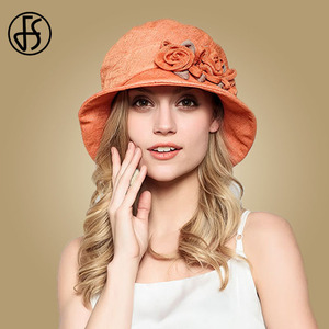 Image 2 - FS Flower Sun Hat For Women Summer Cotton Beach Hats Foldable Orange Beige Wide Brim Sunscreen Visor Cap