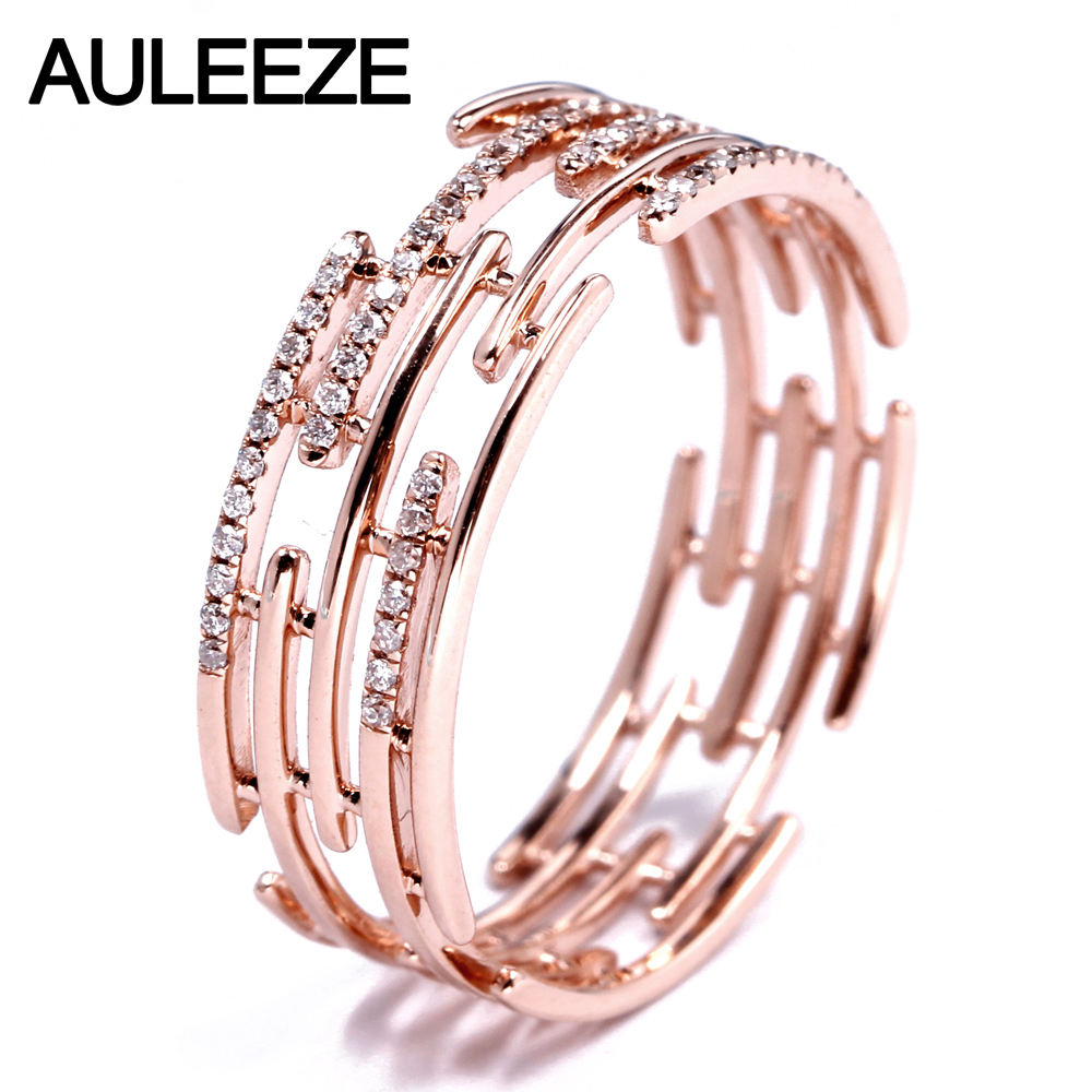 AULEEZE Irregular Line Design Natural Real Diamond Band Solid 18K 750 Rose Gold Party Rings For Women Fine Diamond Jewelry alluring round neck solid color hole design irregular romper for women