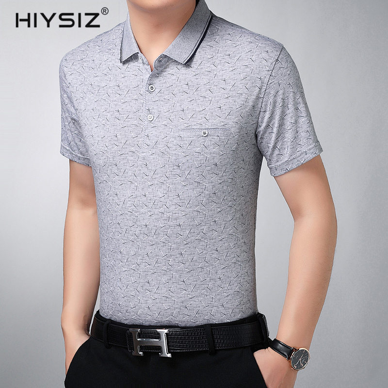 HIYSIZ T Shirt Men 2019 Casual Streetwear Have a side pockets Contracted Stylish Trend Turn down Collar Tshirts Men Summer ST223 in T Shirts from Men 39 s Clothing