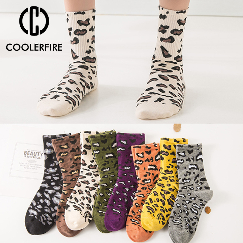 Casual Stretch Fashion Personality High Quality Soft Leopard Short Socks Popular Women's Socks For Female Girl Cotton Sock WD001