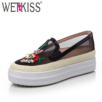 WETKISS New Arrival Ladies Flats Loafers Straw Appliques Genuine Leather Mesh Breathable Summer Footwear Superstar Shoes