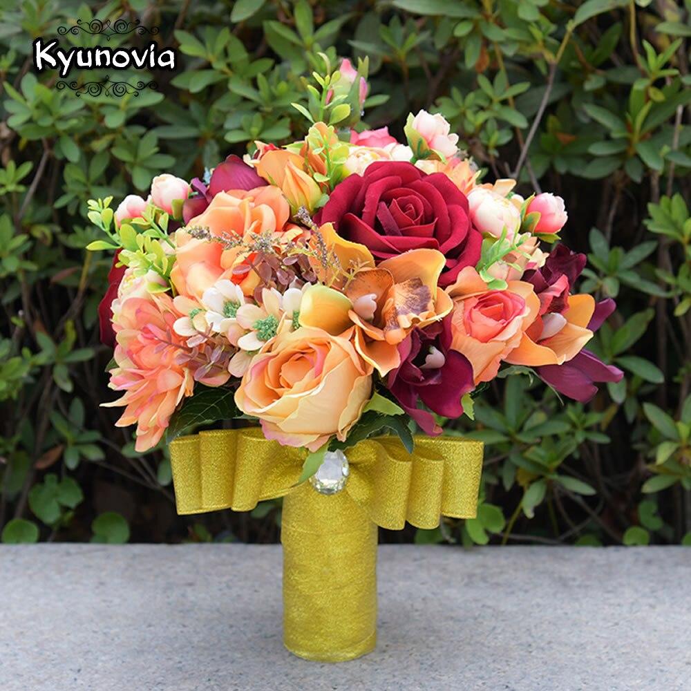 Aliexpress Buy Kyunovia Silk Wedding Flower Dahlia Bouquet