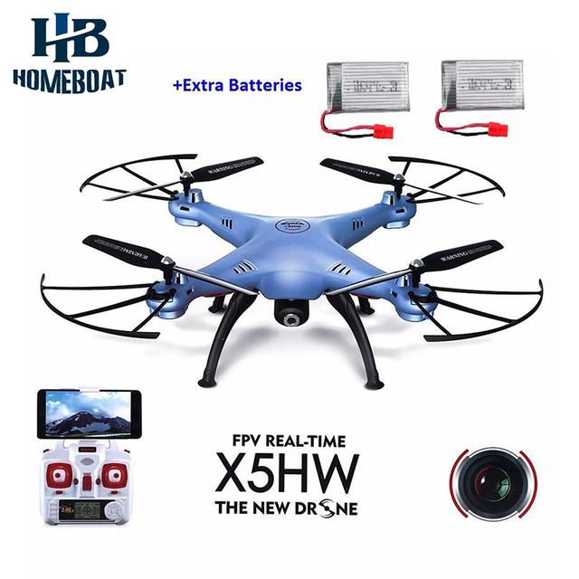 Câmera fpv 2.4 ghz 6-axis helicóptero syma x5hw toys rc headless wi-fi ufo quadcopter zangão com 2 pcs baterias extras zangão