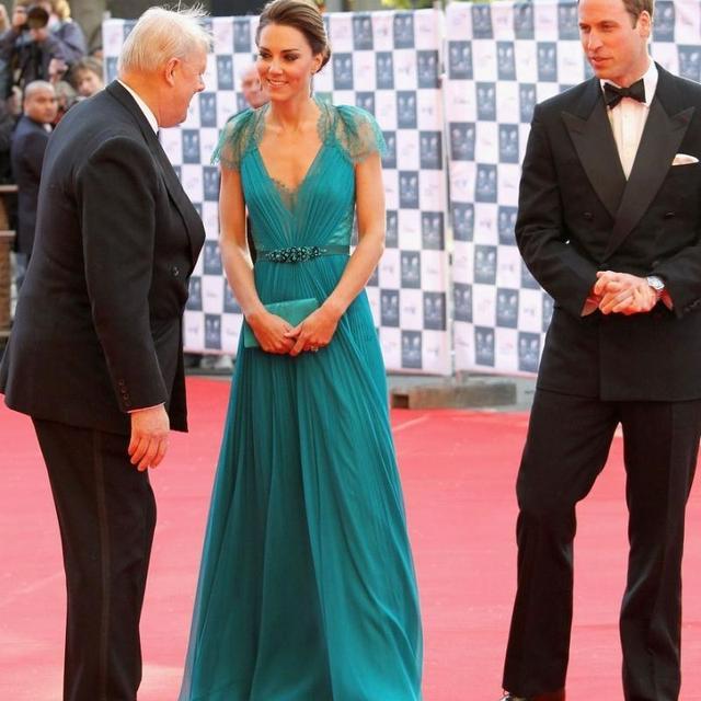 2015 Kate Middleton Vestido Azul En Concierto Olímpico beased de Partido de Los Vestidos de Noche de Encaje una línea Vestidos de La Celebridad vestido de festa