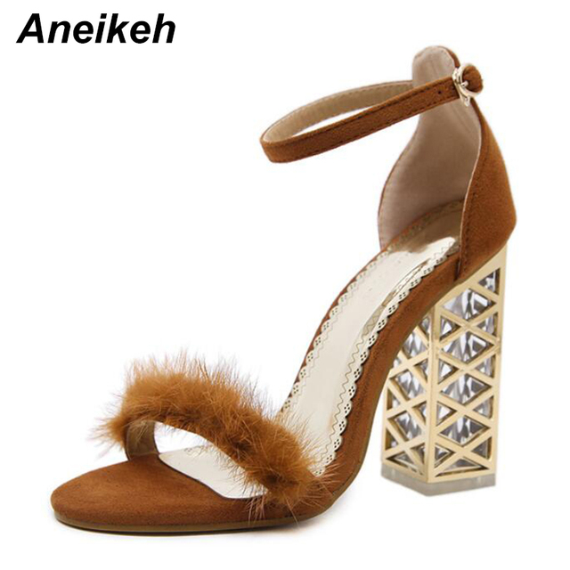 Aneikeh 2018 New Summer Fashion Roman Suede Plush Buckle Women Pumps Shoes  Sexy High Heels Crystal With Party Woman Sandals e07218b9b85c