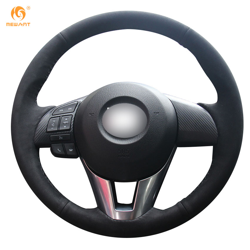 MEWANT Black Suede Car Steering Wheel Cover for Mazda 3 Axela 2013-2016 Mazda 6 Atenza 2014-2017 Mazda 2 2015-2017 runba ice silk steering wheel cover sets with red thread