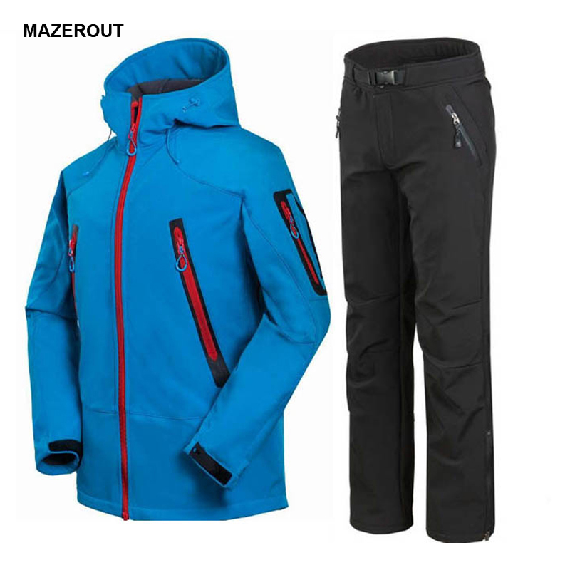 ФОТО MAZEROUT Man Fishing Winter Trekking Hiking Outdoor SoftShell Fleece Hoody Jacket Set Camping Trousers Sports Jacket+Pant S34