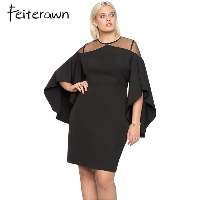 6786e7e2be7ce Feiterawn Autumn 2018 Party Black Red Mesh Illusion Cold Shoulder Bodycon Dresses  Bell Sleeve Plus Size Dress Women Clothing