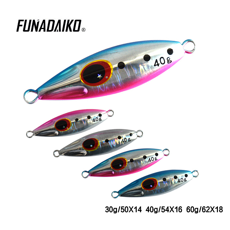 FUNADAIKO 40g lead fishing bait Artificial Metal Lures Luminous Slow lure fishing Jigging Slow jig Shake Jigging 5g 7g metal jig spoon lure artificial bait boat spinner metal jigging shore cast iron hard lead fishing lures pesca accessories