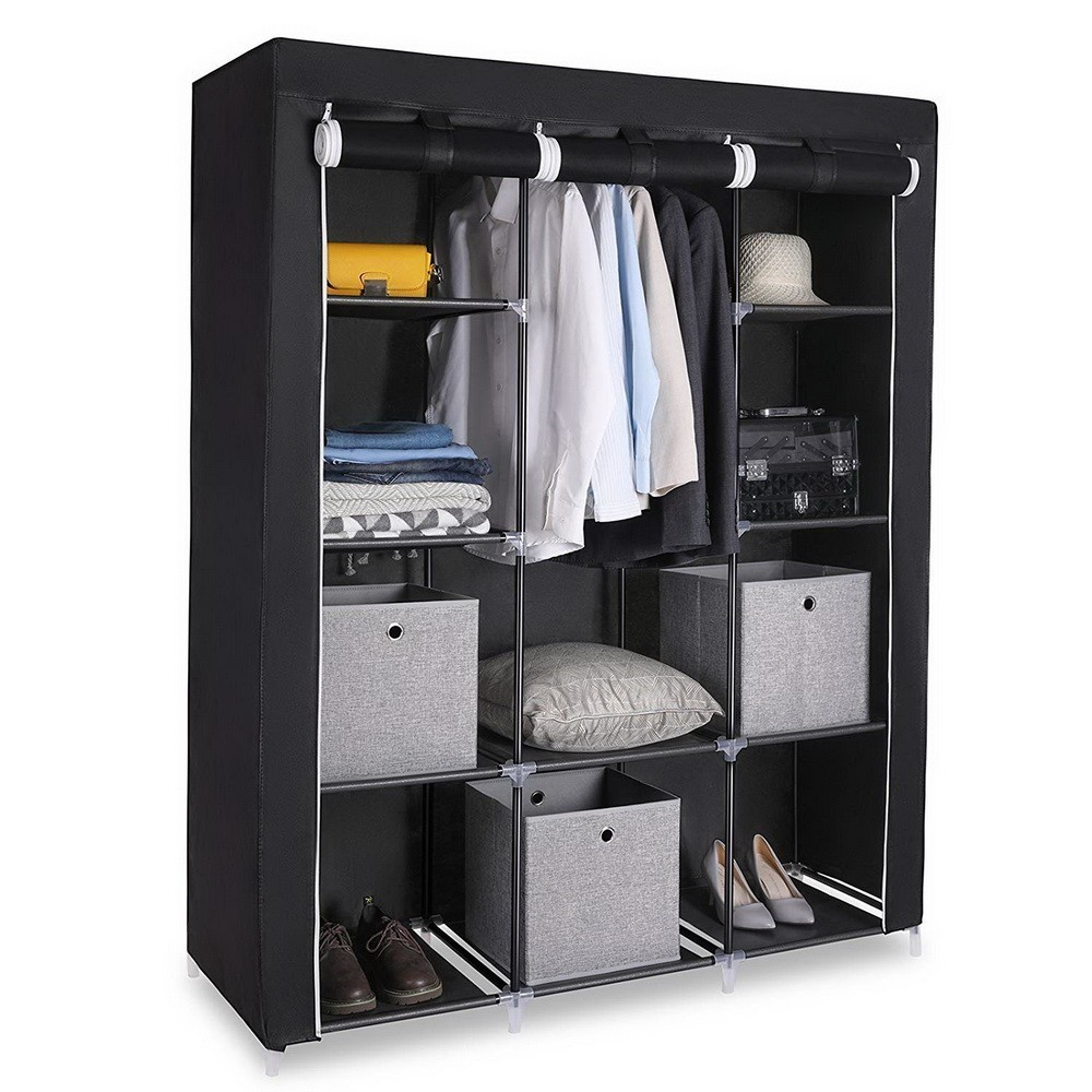Modern Non-woven Cloth Wardrobe With Side Pocket Clothing Storage Cabinet Folding Steel Individual Closet Bedroom Furniture