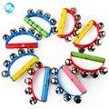 Sonajero de madera instrumentos musicales de juguete de música de madera handbell toys para niños 1-12months colorido de la música del juguete educativo del bebé