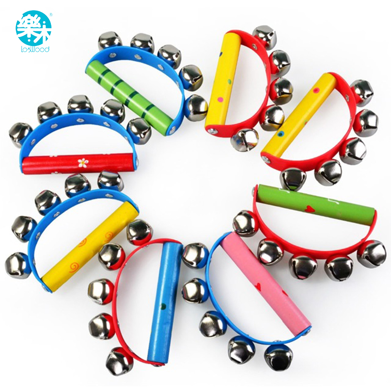 Wooden Baby Rattle  Toy Musical Instruments Music Wooden Handbell Toys For Kid 1-12months Colorful Music Baby Education Toy