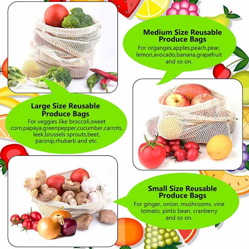 أكياس خضروات قطن قابلة لإعادة الاستخدام مطبخ منزلي تخزين الفواكه والخضروات حقائب من القماش الشبكي مع آلة الرباط قابل للغسل
