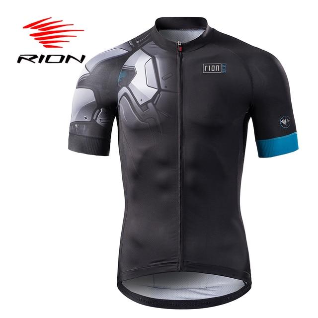 RION Cycling Lycra Men Short Anti-Wrinkle Jerseys Pockets Summer Autumn Full Zipper Tops Sports Clothing Black Blue Brand Design