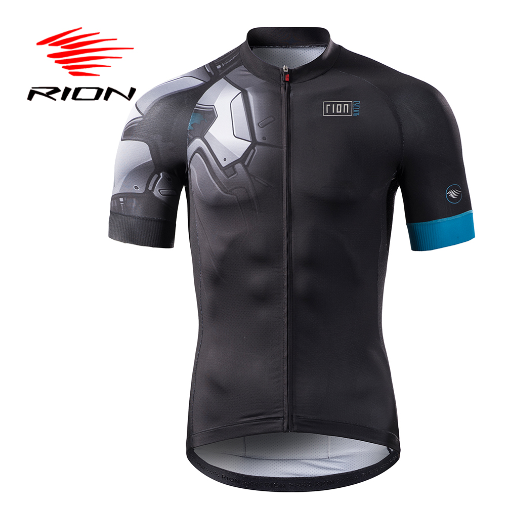 RION Cycling Lycra Men Short Anti Wrinkle Jerseys Pockets Summer Autumn Full Zipper Tops Sports Clothing Black Blue Brand Design