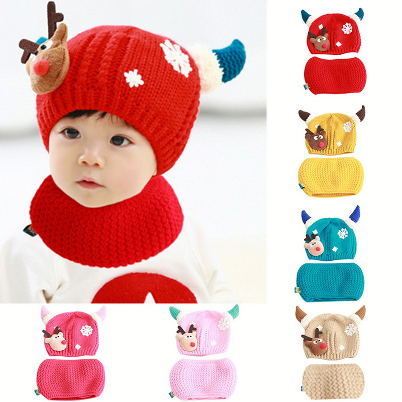 Adisputent Baby Girls Boys Winter Hat Scarf Christmas moose Earflap Hood Scarves Caps (1-2 years old) 2019 new fashion(China)