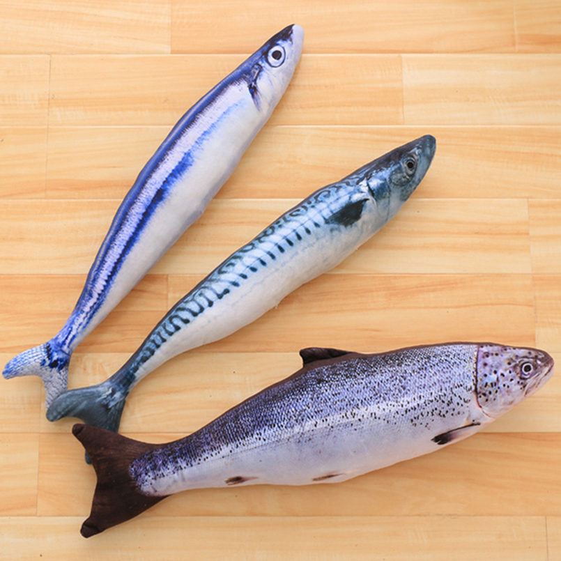 60 CM Soft Salmon Real Life Plush Toys Saury Creative Mandarin Fish Simulation Stuffed Animal Salmon Pillow Home Decor Cat Toy 120cm creative simulation arowana plush toy pillow cushion fish doll home decoration