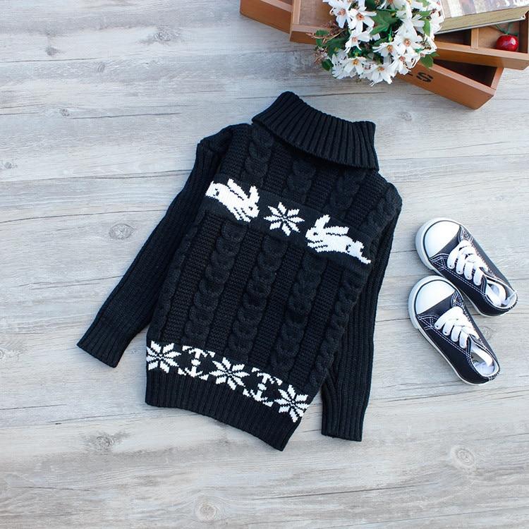 Turtleneck Warm Outerwear Boys Sweater Cartoon Baby Girls Sweater Jumper Autumn Winter Kids Knitted Pullovers Children Clothes