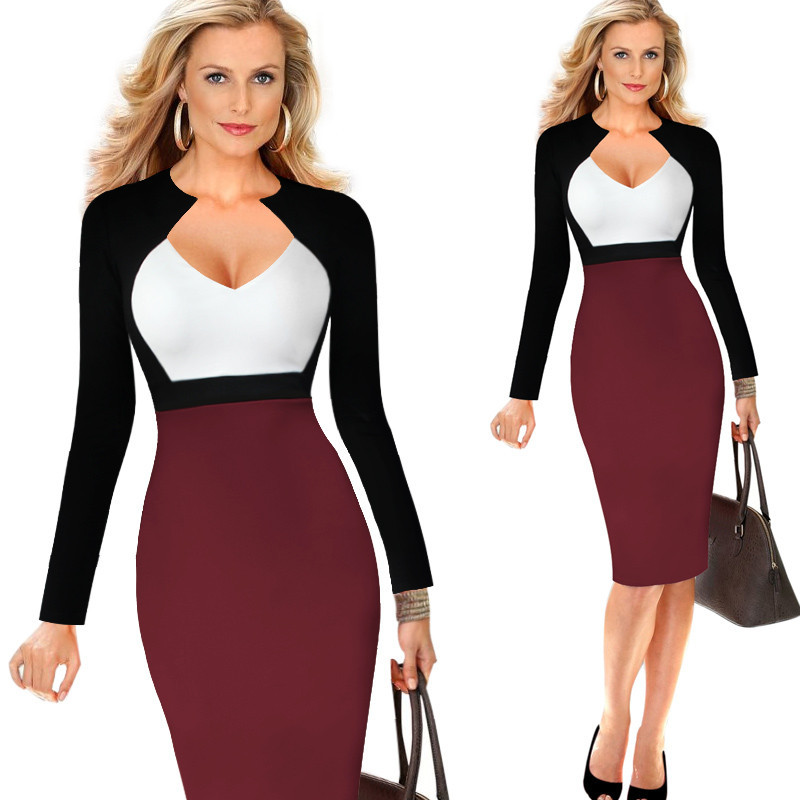51d4b969d8b Women s Chic V-Neck Color Blocked Wear To Work Sheath Dress Sexy Elegant  Long Sleeve Patchwork Office Pencil Dress Vestido