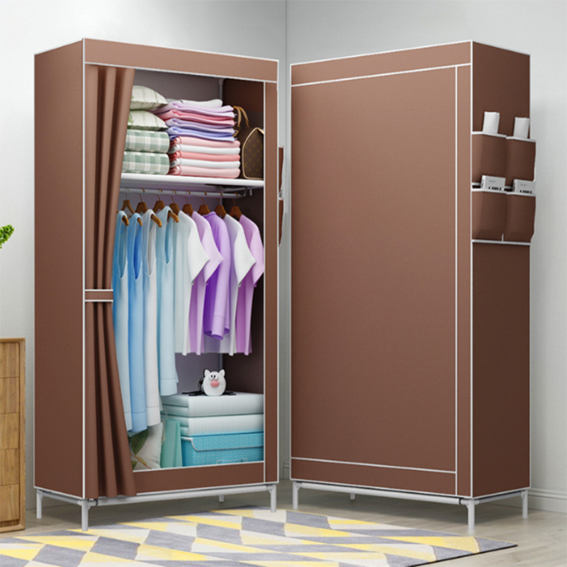 Wardrobe Storage Large Capacity Simple Wardrobe Double Hanging Assembly Cabinet Reinforcement  Folding Cloth Furniture A10960