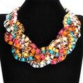 14 Colores Liberan El Envío Punk Party Collar de Moda Collar de Búho de Oro Gruesa Cadena Hecha A Mano Lint Wrap Braid Crystal Choker Collar