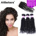 Peruvian Virgin Hair with Closure Peruvian Deep Wave 3 Bundles with Closure 8A Peruvian Deep Curly Virgin Hair with Closure