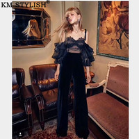 Thai Tide brand Spring and summer New Sexy Puff Sleeve Mesh Lace Strapless Shirt Tops +High waist Velvet Pants Women's Sets
