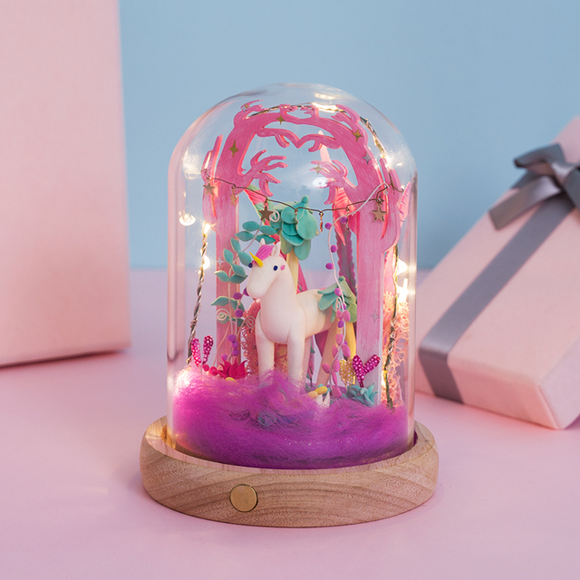 Robotime DIY Little Unicorn Model Clay Toys With Led Light Glass Dust Cover Fluffy Slime Plasticine Toys for Drop Shipping DC01