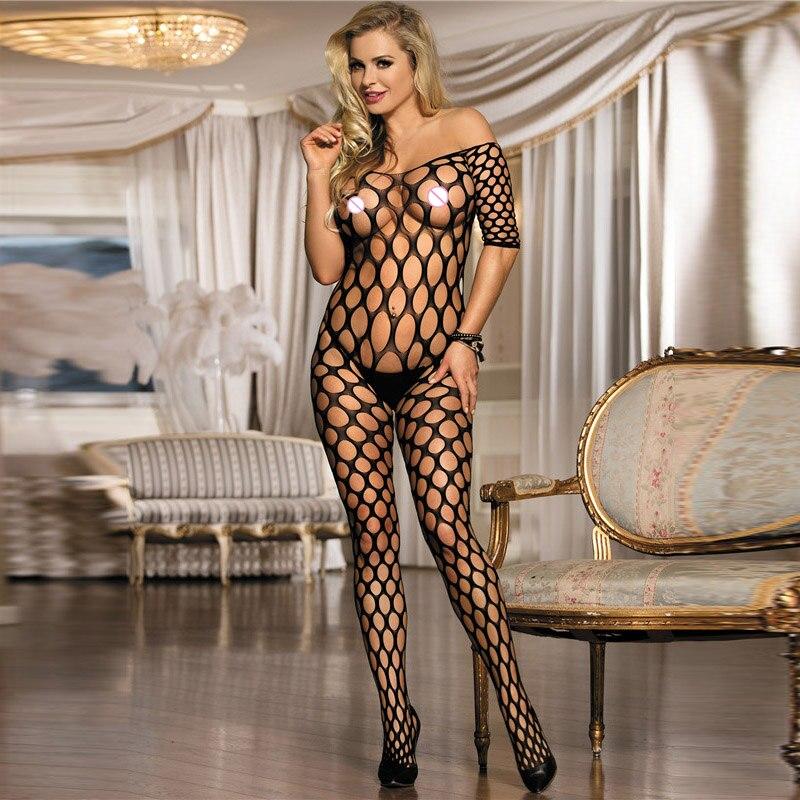 The Best Elastic Black Fishnet Bodystocking Plus Size Off Shoulder U-back Sexy Lingerie Hot Women Erotic Lingerie Bodysuit To Produce An Effect Toward Clear Vision