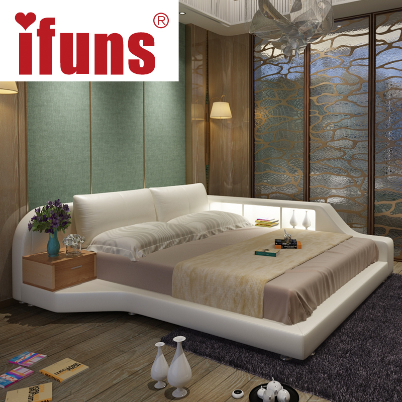 ifuns king queen size double bed frame genuine leather luxury bedroom furniture sets storage chaise tatami led night usbcharge in beds from furniture on - Double Bed Frame With Storage