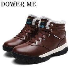Зимние Для мужчин модные кожаные ботинки Повседневное Для мужчин кожаные мокасины брендовые зимние Мужская обувь мужские полусапоги дешевые ковбойские ботинки