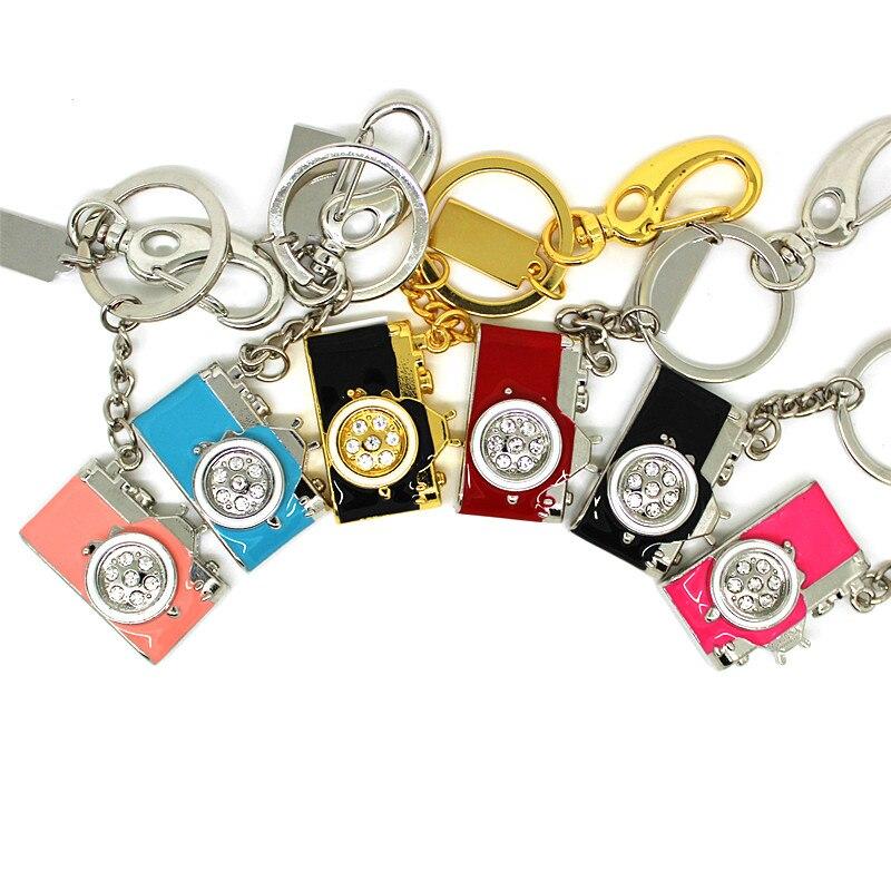 Keychain Pen-Drive Metal-Camera Crystal Fashion Memory-Stick U-Disk 16GB 64GB 32GB 8GB