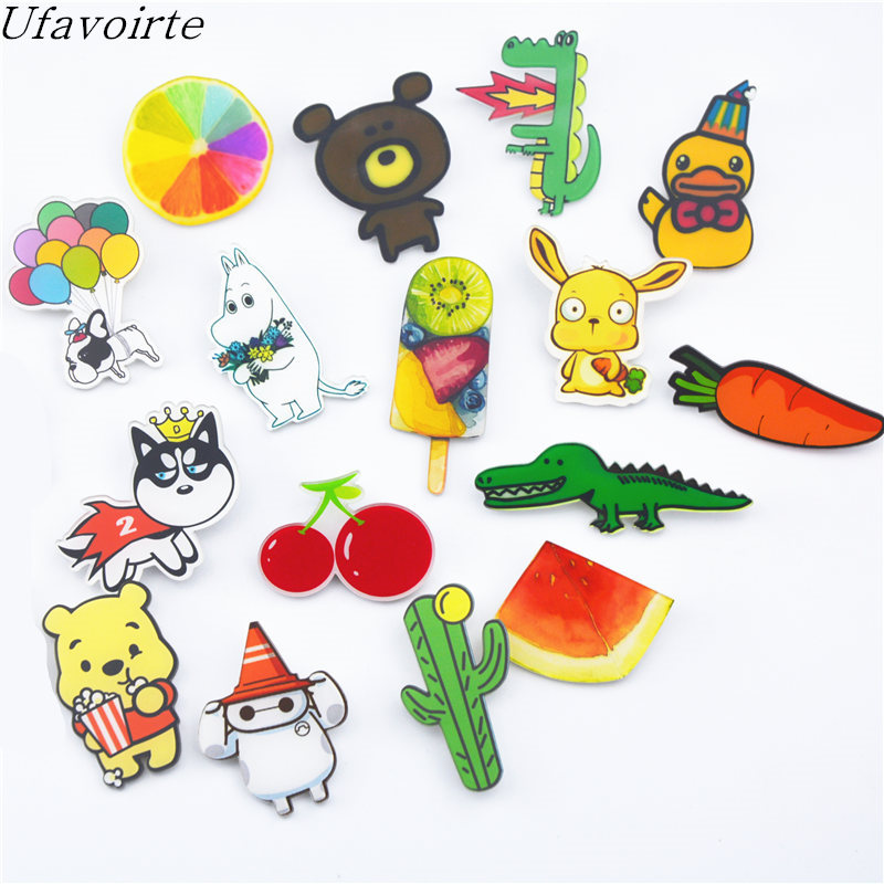 5Pc Mixed Cute crocodile/Dog/fruits/rabbit/Design Acrylic Brooches Pins Hats Clips DIY Lovely Cartoon Gift For Women