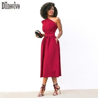 Women Elegant Evening Party Dresses Sleeveless One Shoulder Sexy Women Dress Pockets Summer Dress Red Black