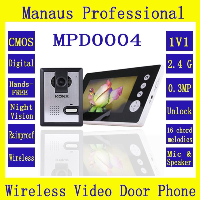 Wireless Intercom 7 Inch Interfone Video Door Phone Doorbell With Camera Dual Audio Remote Unlocking Camera Night Vision D0004