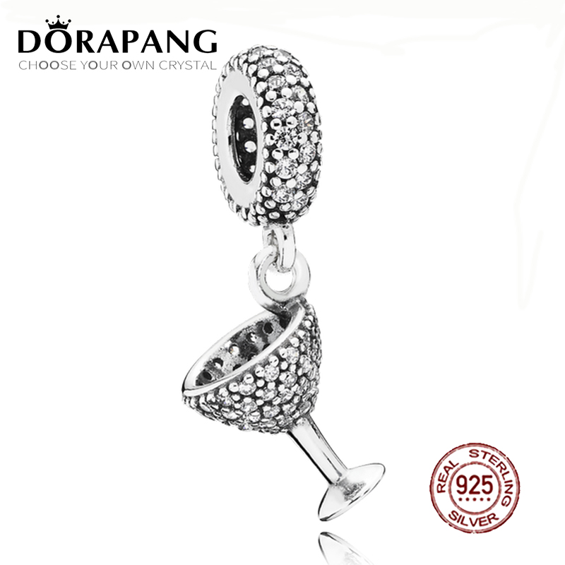 DORAPANG 100% 925 Sterling Silver Night Out Dangle Charm Clear CZ Pendant Charms Bead For Mother Gift Bracelet DIY