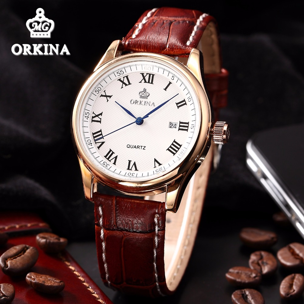 Luxury Rose Gold Men's Business Watches MG.ORKINA Auto Date Japan Quartz WristWatch Men Brown Leather Fashion Dress Wrist Watch mens business dress quartz watch men mg orkina classic auto day date black leather japan quartz movement clock men wrist watches