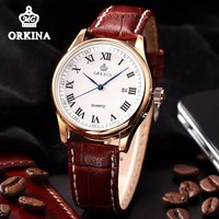 Luxury Rose Gold Men's Business Watches MG.ORKINA Auto Date Japan Quartz WristWatch Men Brown Leather Fashion Dress Wrist Watch