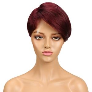 Image 2 - 洗練されたブラジル人毛ウィッグ 100% レミー赤黒人女性のためのブラウンフル機格安ウィッグ妖精カットかつら高速